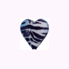 Murano Glass Sparkle Heart 15mm Dark Blue Tigrato