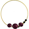 Murano Glass Bracelet, Memory Wire Gold Tone, 3 Beads Dark Amethyst
