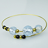 Murano Glass Bracelet, Memory Wire Gold Tone, 3 Beads Alessandrite over Silver Foil