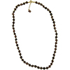 Black with Aventurina Authentic Murano Glass Beaded Necklace 26 Inches with 1 1.5 Inch Extender, Gold Tone Clasp