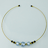 Murano Glass Choker, Memory Wire Gold Tone, 3 Beads Alessandrite with Silver Foil