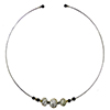 Murano Glass Choker, Memory Wire Silver Tone, 3 Beads Gray with Silver Foil