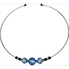 Murano Glass Choker, Memory Wire Silver Tone, 3 Beads Blue with Silver Foil
