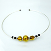 Murano Glass Choker, Memory Wire Silver Tone, 3 Beads Topaz with Silver Foil