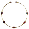 Murano Glass Choker, Memory Wire Gold Tone, 5 Millefiori Beads in Amethyst and Assorted Millefiori