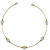 Murano Glass Choker, Memory Wire Gold Tone, 5 Beads Clear over Silver