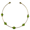 Murano Glass Choker, Memory Wire Gold Tone, 5 Beads Green over Silver