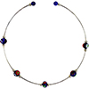 Murano Glass Choker, Memory Wire Silver Tone, 5 Millefiori Beads in Cobalt and Assorted Millefiori