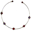 Murano Glass Choker, Memory Wire Silver Tone, 5 Millefiori Beads in Amethyst and Assorted Millefiori