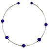 Murano Glass Choker, Memory Wire Silver Tone, 5 Beads Cobalt Blue over Silver