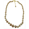 Pale Gray Aventurina Graduated Necklace 18 Inches w/ 2 Inch Extender, Gold Tone Clasp Authentic Murano Glass Beaded