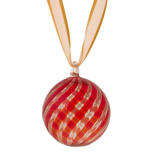 Red aventurina murano glass holiday ornament christmas