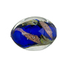 Murano Glass Bead, Base Cobalt with Aventurina and Calcedonia Oval 22x15