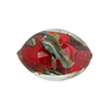 Murano Glass Bead, Base Red with Aventurina and Calcedonia Oval 23x15