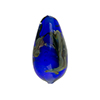 Murano Glass Bead, Base Cobalt with Aventurina and Calcedonia Teardrop 23x13