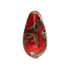 Murano Glass Bead, Base Red with Aventurina and Calcedonia Teardrop 23x13