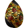 Murano Glass Bead Bed of Roses Exterior Gold Foil Flat Teardrop 40mm Black
