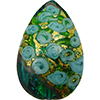Murano Glass Bead Bed of Roses Exterior Gold Foil Flat Teardrop 40mm Verde Marino