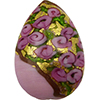 Murano Glass Bead Bed of Roses Exterior Gold Foil Flat Teardrop 40mm Opaque Pink