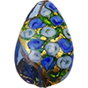 Murano Glass Bead Bed of Roses Exterior Gold Foil Flat Teardrop 40mm Blue