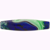 Murano Glass Bead Monet Skinny Oval 50mm Green & Cobalt Silver