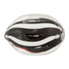 Authentic Murano Glass Rounded Oval Trade Bead, 22mm Black White