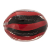 Authentic Murano Glass Oval Trade Bead, 22mm Black Red