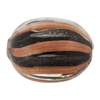 Authentic Murano Glass Rounded Oval Trade Bead, 22mm Black Aventurina