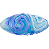 Exterior Piping Swirl Oval 40mm Silver Foil Blue, Aqua Murano Glass Bead
