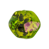 Venetian Bead Dichroic Sparkles Pebble, Green Gold 20mm