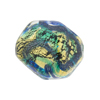 Aqua, Blue Aventurina Foil Galaxy, 15mm Pebble, Murano Glass Bead