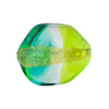 Green and Aqua Sasso 23x20mm, Bicolor 24kt Gold Foil Murano Glass Bead