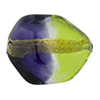 Peridot and Plum 24kt Gold Foil Poliedro 29X24mm, Bicolor Murano Glass Bead