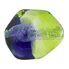 Peridot Green and Plum Silver Foil Poliedro 29X24mm, Bicolor Murano Glass Bead