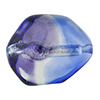 Blue and Plum Silver Foil Poliedro 29X24mm, Bicolor Murano Glass Bead
