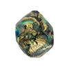Aqua, Purple 24kt Gold Foil Sospire, 23X20 Pebble, Murano Glass Bead