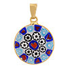 Millefiori Pendant Red Hearts with Black Daisies Vermeil Bezel