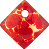 Red and Gold Foil 30mm Diagonal Pendant, Murano Fused Glass