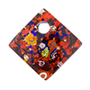Fused Murano Glass Curved Diagonal Pendant 30mm 24kt Gold, Red Multi Millefiori