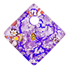 Fused Murano Glass Curved Diagonal Pendant 30mm Purple with Silver Foil & Multi Millefiori