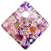 Fused Murano Glass Curved Diagonal Pendant 30mm Amethyst with Silver Foil & Multi Millefiori