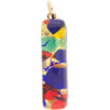 Gold Multi Colors Skinny 10x40mm Pendant W/Bail, Murano Fused Glass