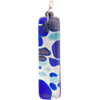 Aqua and Cobalt Silver Foil Skinny 10x40mm Pendant W/Bail, Murano Fused Glass