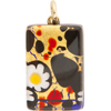 Black, Red and Daisy Gold Foil 20x40mm Pendant W/Bail, Murano Fused Glass