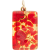 Red and Gold Foil  20x40mm Pendant W/Bail, Murano Fused Glass