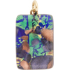 Aqua Cobalt Aventurina Gold Foil 20x40mm Pendant W/Bail, Murano Fused Glass