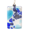 Aqua and Cobalt Silver Foil  20x40mm Pendant W/Bail, Murano Fused Glass