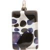 Black and Aventurina Silver Foil  20x40mm Pendant W/Bail, Murano Fused Glass