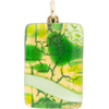 Peridot and Green Zanfirico Gold Foil 20x40mm Pendant W/Bail, Murano Fused Glass