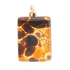 Topaz and Gold Colors 20x30mm Pendant W/Bail, Murano Fused Glass